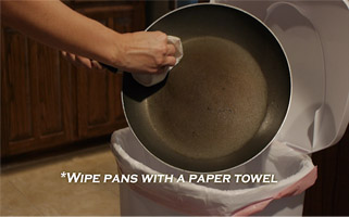 wipe grease off of pans before rinsing with cold water